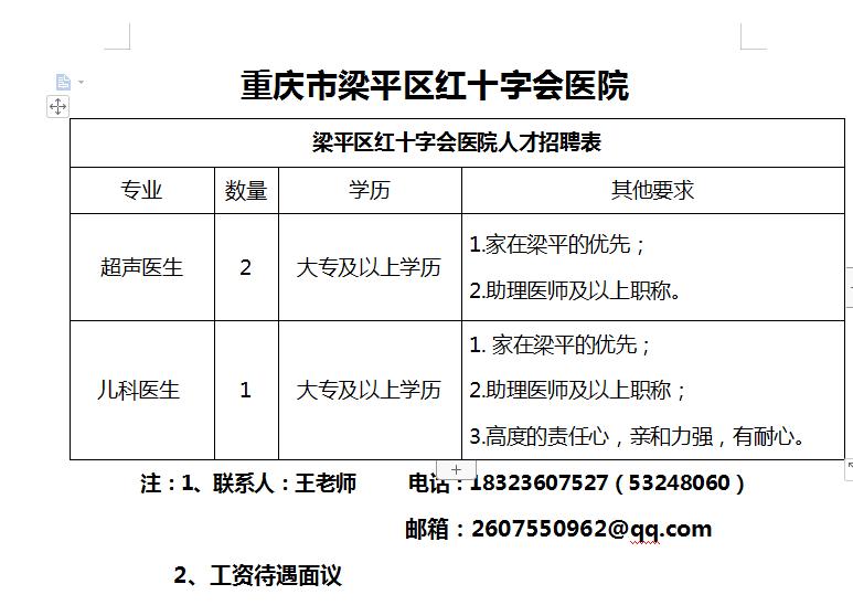 梁平红十字医院招三名医生